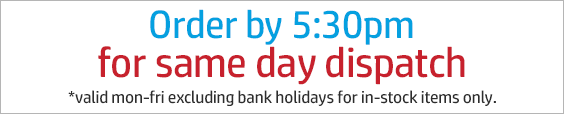 Order by 5:30pm mon-fri for same day dispatch - excluding bank holidays.