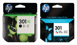 HP 301XL Black Ink and HP 301 Tri-Colour