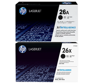 HP 26A Original Black Toner + HP 26X High Yield Black Laserjet Toner Cartridges