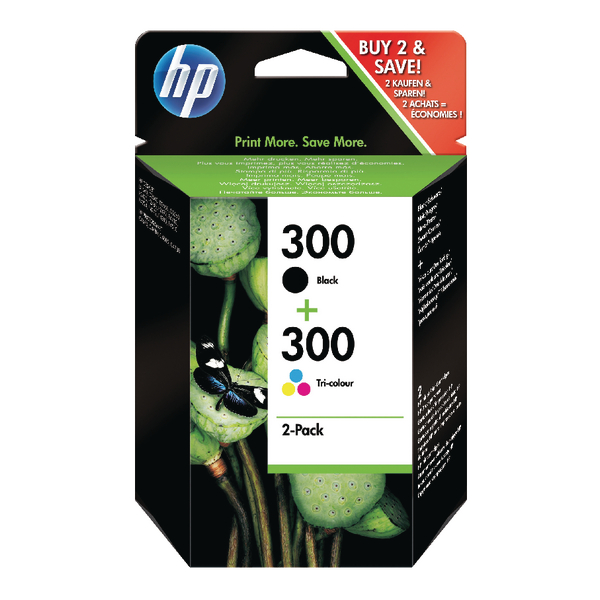 HP 300 Black and Tri-Colour Ink Cartridge Twin Pack | CN637EE