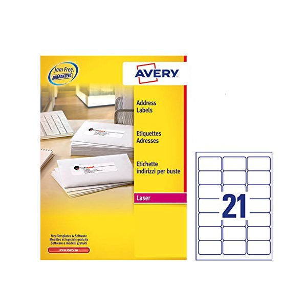 Avery address laser labels 21 labels per sheet 100 for Avery cable label sheets