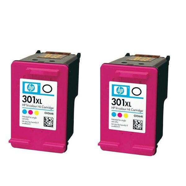 hp 301 xl tri colour ink cartridge twin pack d8j46ae - Hp 301 Tri Color Ink Cartridge