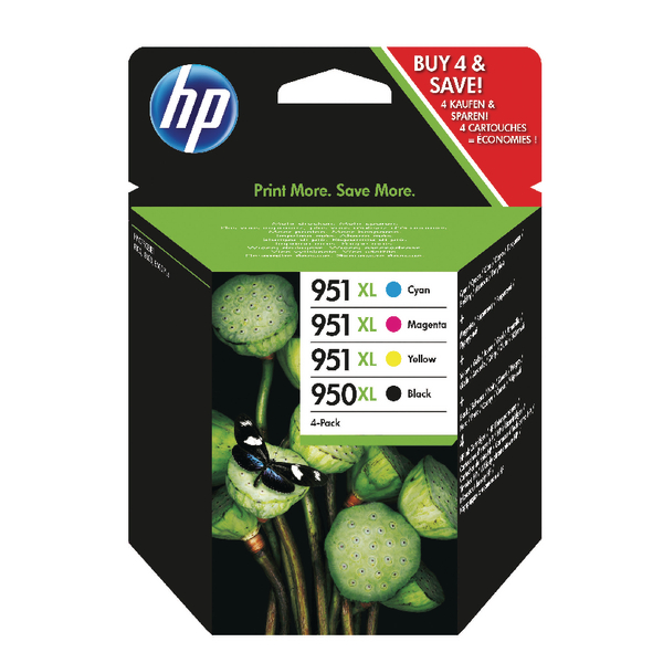HP 950XL Black and 951XL Colour Ink Combo, 4 Pack | C2P43AE