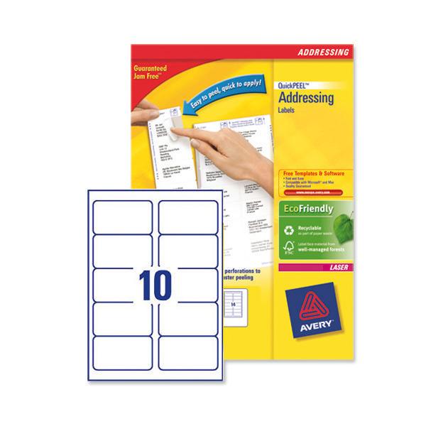 avery laser address labels 10 labels per sheet l7173 250
