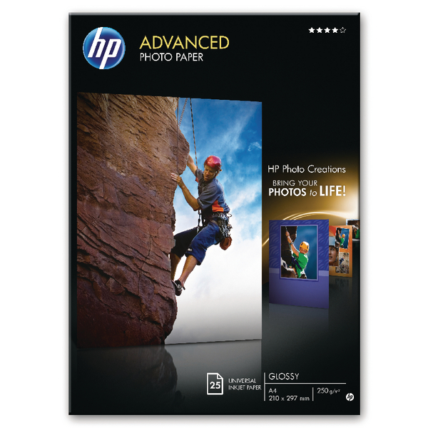 HP Advanced Photo Paper A4 250gsm Glossy (Pack of 25) – Q5456A