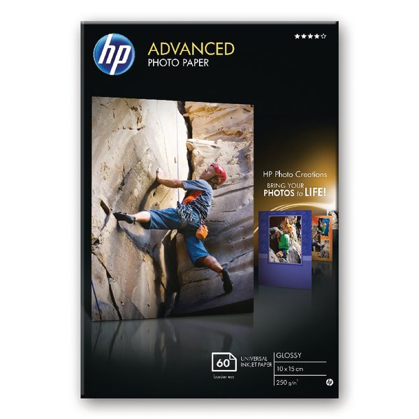 HP Advanced Photo Paper 10 x 15cm 250gsm Glossy (Pack of 60) – Q8008A