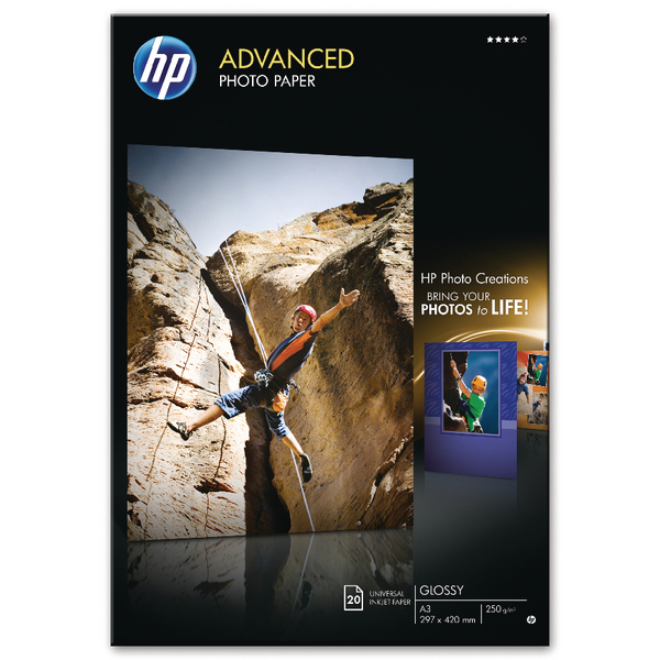 HP Advanced Photo Paper A3 250gsm Glossy (Pack of 20) – Q8697A