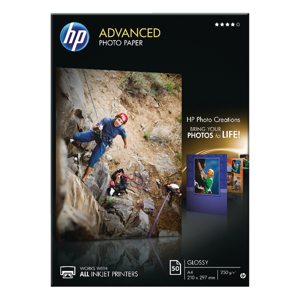 HP Advanced Photo Paper A4 250gsm Glossy (Pack of 50) – Q8698A