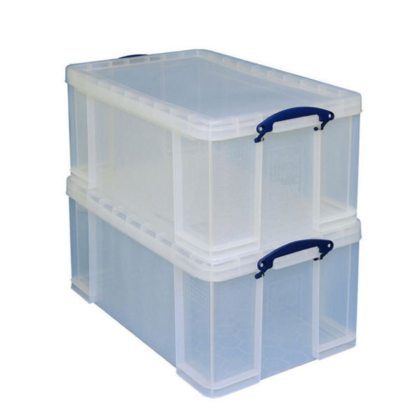 Really Useful 84 Litre Storage Box With Lid Clear  sc 1 st  Find My Supplies : flat pack plastic storage boxes - Aboutintivar.Com