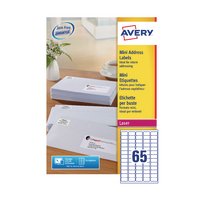Avery Laser/Inkjet Mini Address Labels 65 Labels Per Sheet | L7651